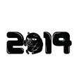 black 2019 sign with a little pig for a zero vector image