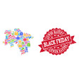 black friday composition of mosaic map of lower vector image vector image