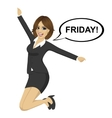 businesswoman jumping happy with friday text vector image vector image