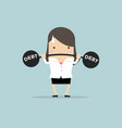 businesswoman lifting heavy weight debt vector image vector image