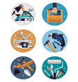 carpenter tools realistic compositions icons vector image vector image