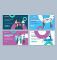 cartoon doctors and patients landing web page vector image