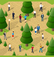 city park with trees and people walking vector image