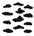 Cloud icon set Stylized black fairytale sketch vector image