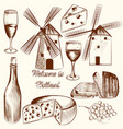 collection hand drawn elements cheese wine vector image