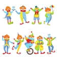Collection Of Colorful Friendly Clowns In Classic vector image vector image