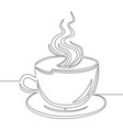 continuous line drawing cup of coffee vector image vector image