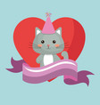 cute cat and heart sweet kawaii character birthday vector image
