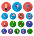 day of patriot holiday flat icons in set vector image