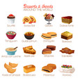 dessert and sweets icons vector image