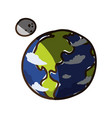 earth planet moon vector image vector image