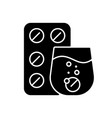 effervescent tablet for cold relief black glyph vector image vector image