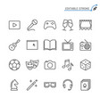 entertainment line icons editable stroke vector image vector image
