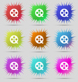 Film icon sign A set of nine original needle vector image vector image