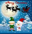 Funny postcard with christmas elf christmas