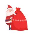 funny santa claus with big sack christmas gifts vector image vector image