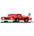 girl loads boxes into the pick up truck vector image vector image