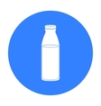 Glass milk bottle icon in black style isolated on vector image vector image