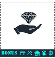 Hand and diamond icon flat vector image vector image