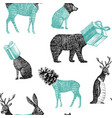 hand drawn winter animals seamless background vector image vector image