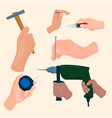 hands with construction tools cartoon style vector image vector image