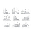 industrial complex color icons set manufacturing vector image vector image
