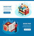 isometric book fair banners vector image vector image