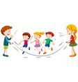 Kids skipping rope in team vector image vector image