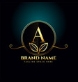 letter a luxury logo concept with golden leaves vector image vector image