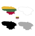 lithuania country black silhouette and with flag vector image vector image