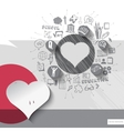 Paper and hand drawn heart emblem with icons vector image vector image