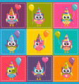 patchwork background with colorful owls with vector image