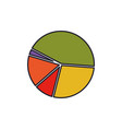 pie chart colorful silhouette with thick contour vector image vector image