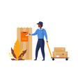 postman delivers mail cartoon postal worker vector image vector image