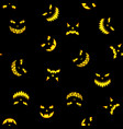 seamless pattern with halloween pumpkins carved vector image