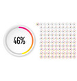 set circle percentage diagrams from 0 to 100 vector image vector image