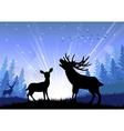 Silhouette of deer and kangaroo standing vector image