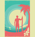 surfer and sea waves tropical island poster vector image