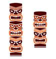tiki pole totem set tribal design in brown vector image