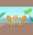tropical pizzeria table at balcony with sea view vector image vector image