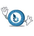 waving bitshares coin character cartoon vector image vector image