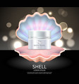 white pearl cream in seashell commercial poster vector image vector image