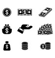 money related icons set vector image