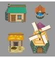 set of rural buildings Create your own cartoon vector image