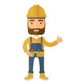 a happy carpenter wearing hard hat vector image