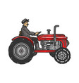 agricultural tractor color sketch engraving vector image