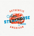 american steakhouse vintage label card vector image vector image