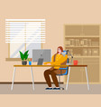 business woman at desk is working vector image vector image