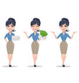 business woman set of three poses vector image