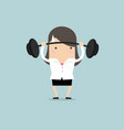 businesswoman lifting a heavy weight vector image